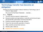 technology transfer has become an obligation