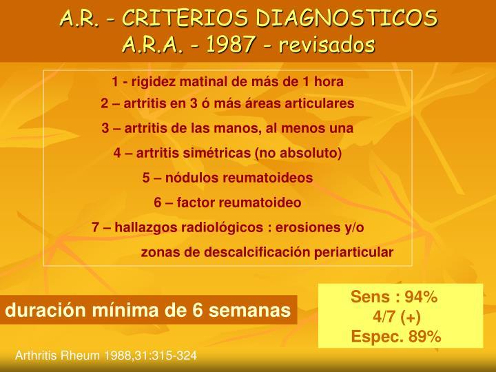 A.R. - CRITERIOS DIAGNOSTICOS