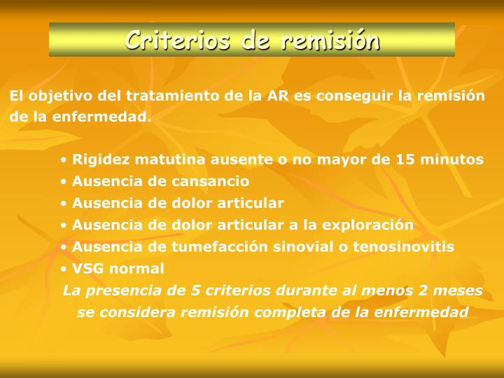 Criterios de respuesta al tratamiento