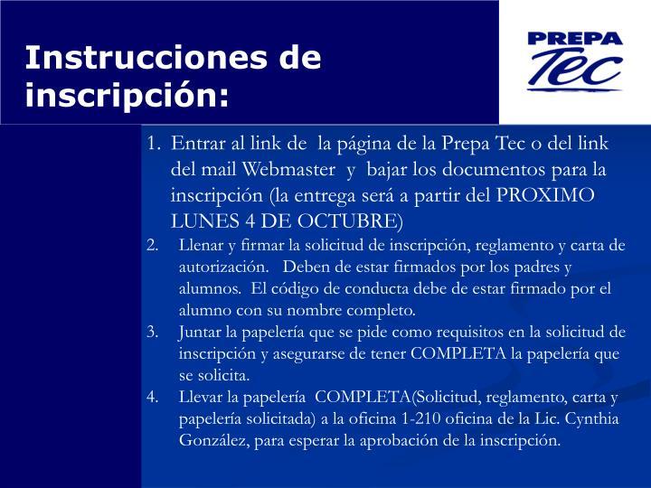 Instrucciones de inscripción:
