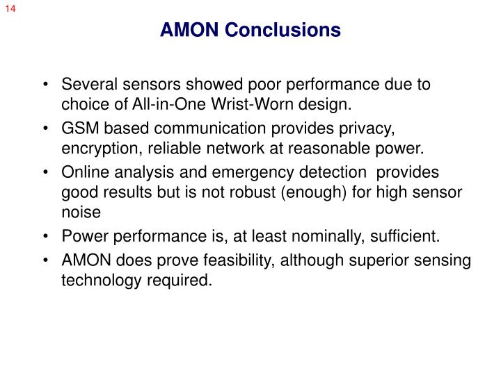 AMON Conclusions