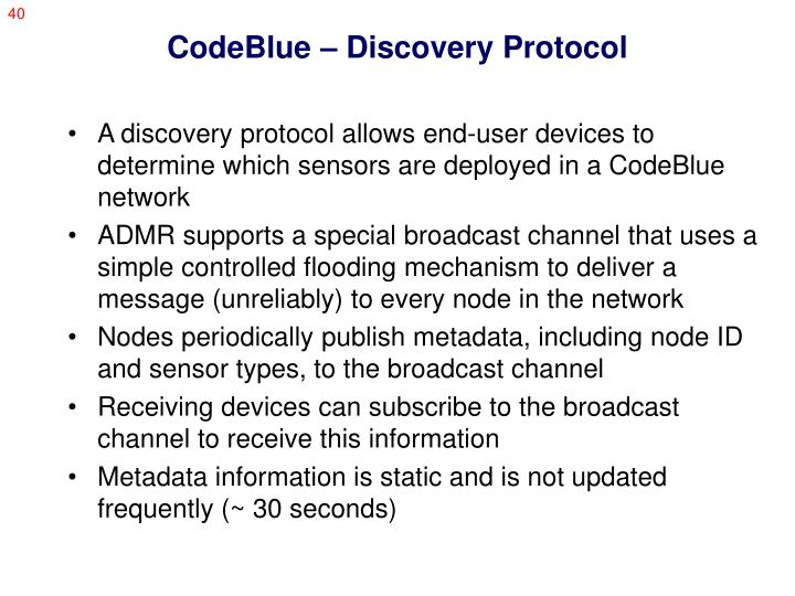 CodeBlue – Discovery Protocol