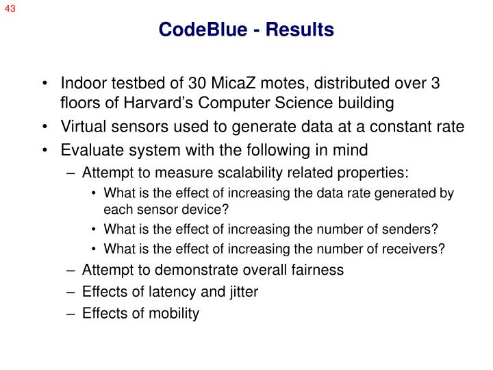 CodeBlue - Results