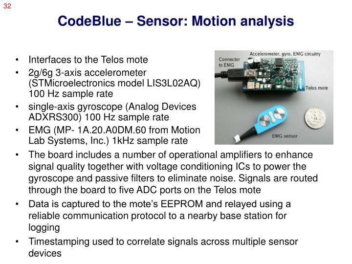 CodeBlue – Sensor: Motion analysis