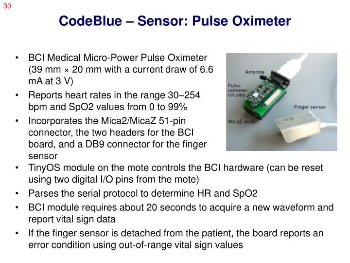 CodeBlue – Sensor: Pulse Oximeter