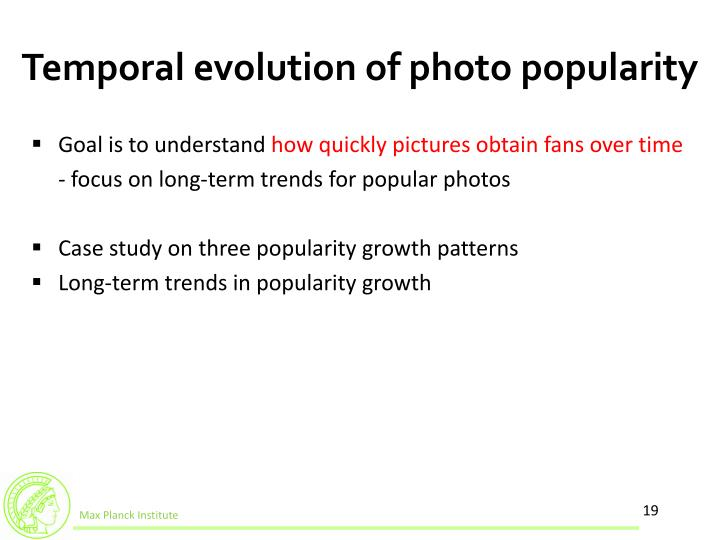 Temporal evolution of photo popularity