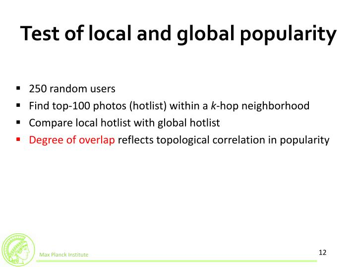 Test of local and global popularity