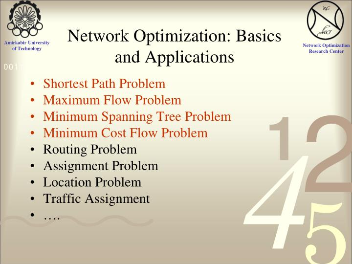 Network Optimization: Basics and Applications