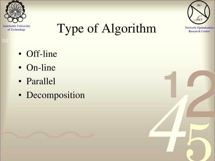 Type of Algorithm