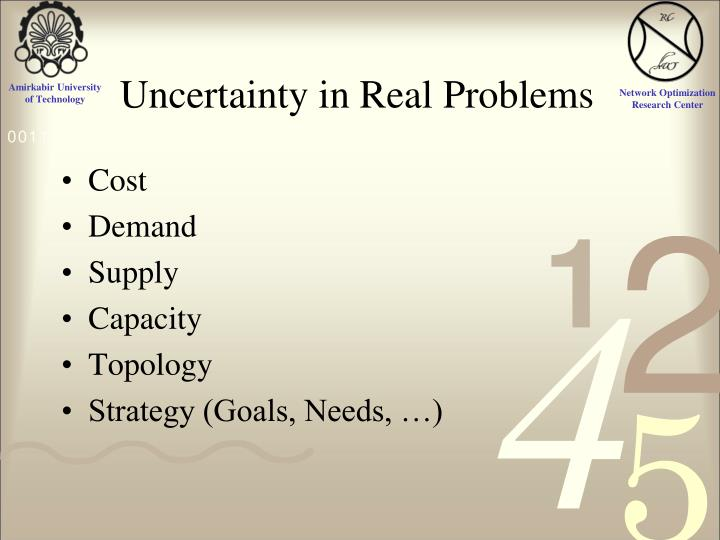 Uncertainty in Real Problems