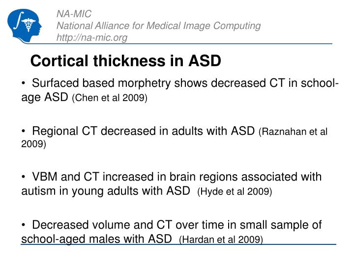 Cortical thickness in ASD