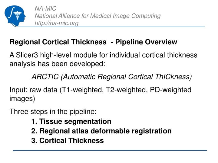 Regional Cortical Thickness  - Pipeline Overview
