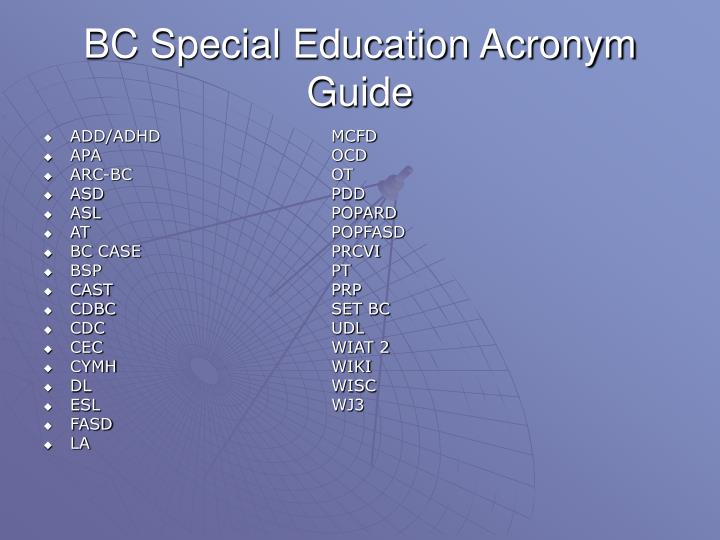 Bc special education acronym guide