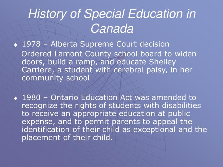 History of Special Education in