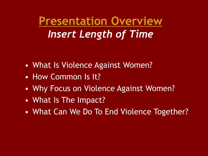 Presentation overview insert length of time