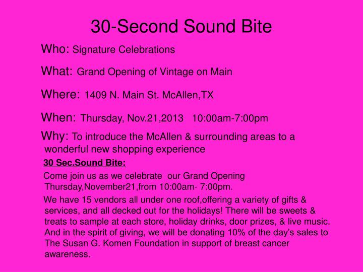 30-Second Sound Bite