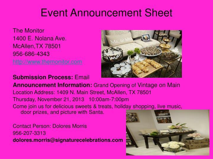 Event Announcement Sheet