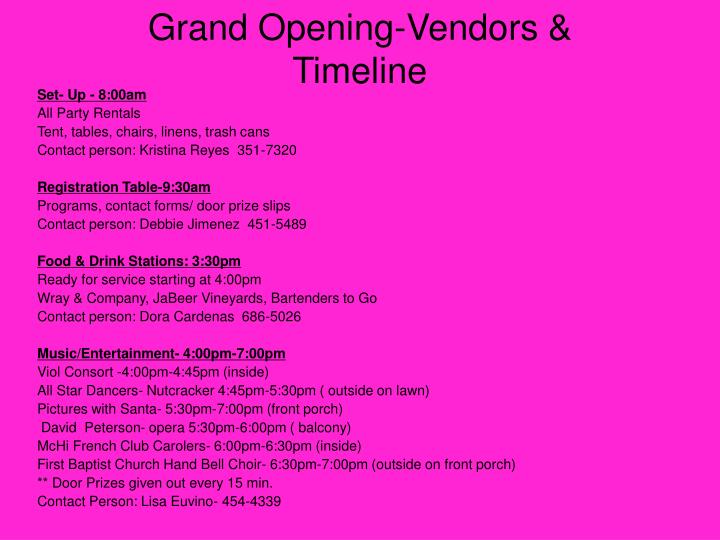 Grand Opening-Vendors & Timeline