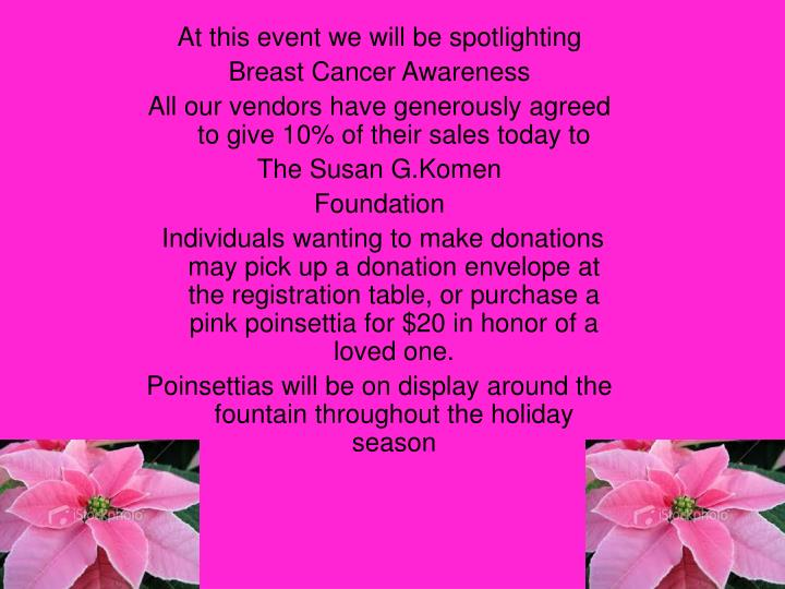 At this event we will be spotlighting