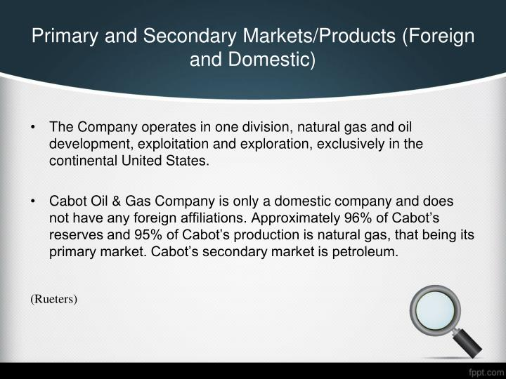 Primary and Secondary Markets/Products (Foreign and Domestic)