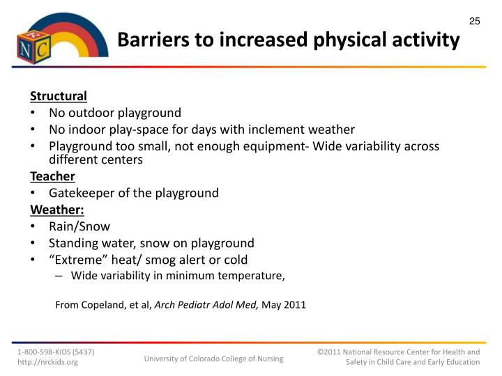 Barriers to increased physical activity