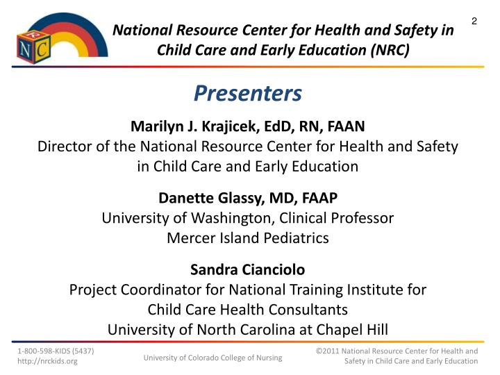 National resource center for health and safety in child care and early education nrc