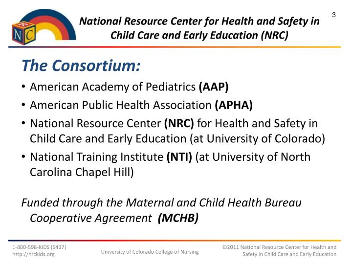 National resource center for health and safety in child care and early education nrc1