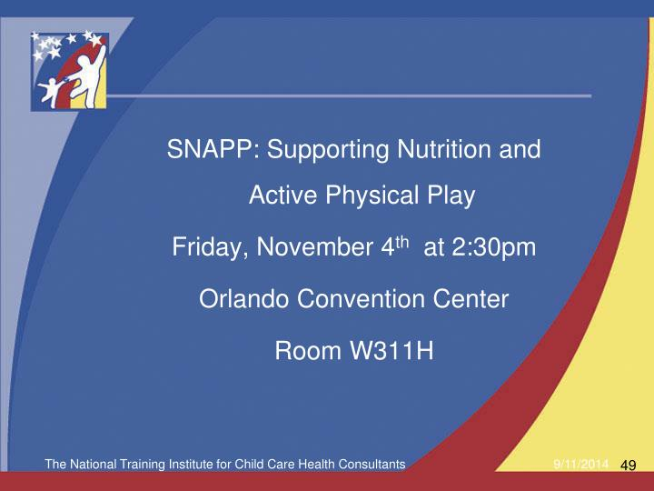 SNAPP: Supporting Nutrition and Active Physical Play