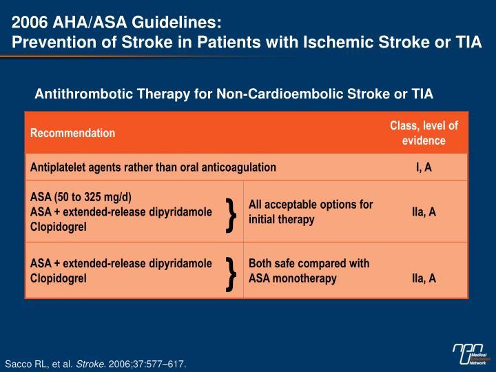 2006 AHA/ASA Guidelines: