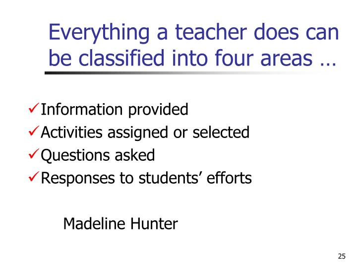 Everything a teacher does can be classified into four areas …