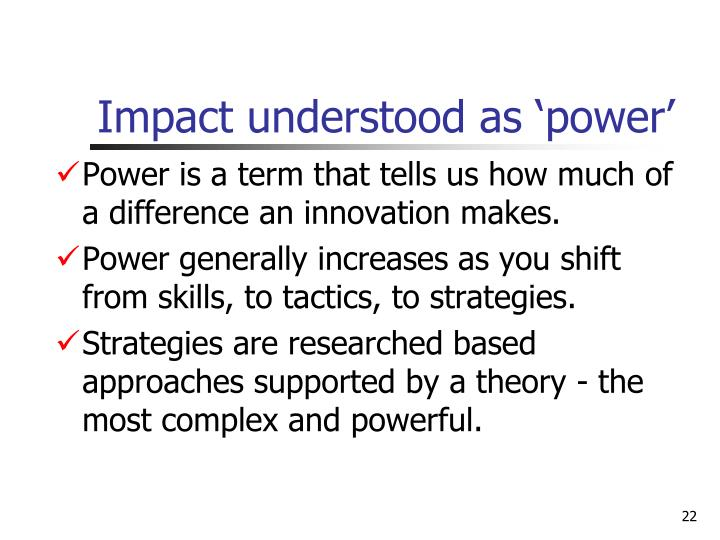 Impact understood as 'power'