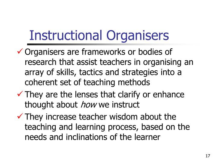 Instructional Organisers
