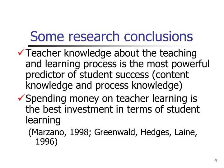 Some research conclusions