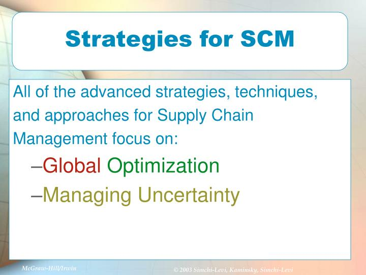Strategies for SCM