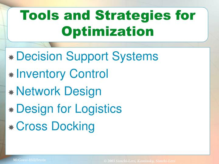 Tools and Strategies for Optimization
