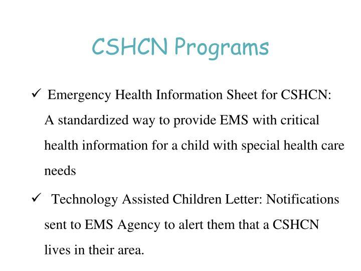 CSHCN Programs