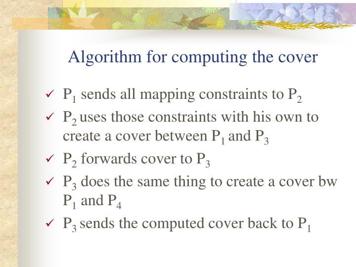 Algorithm for computing the cover