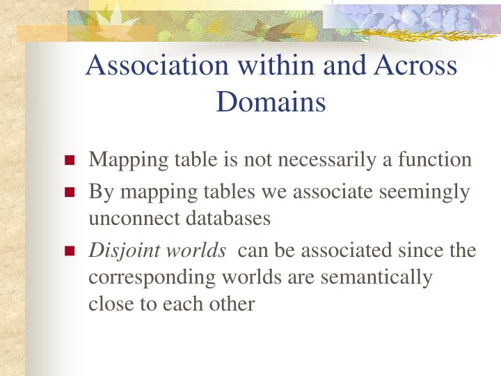 Association within and Across Domains