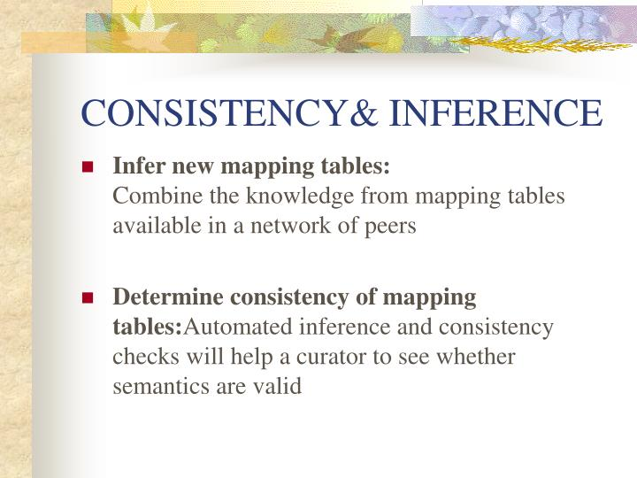 CONSISTENCY& INFERENCE