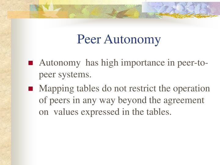 Peer Autonomy