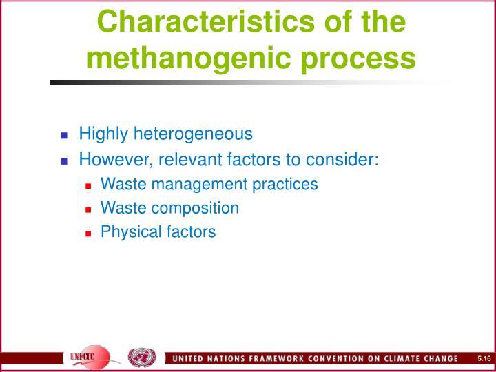 Characteristics of the methanogenic process