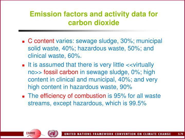 Emission factors and activity data for carbon dioxide