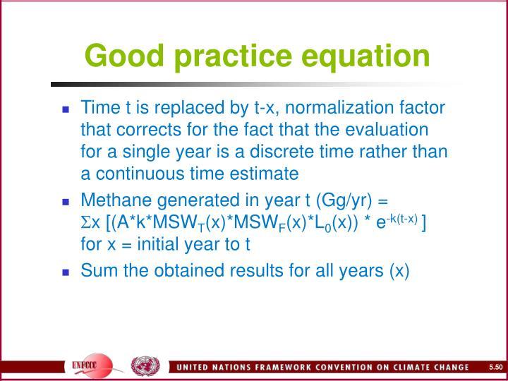 Good practice equation