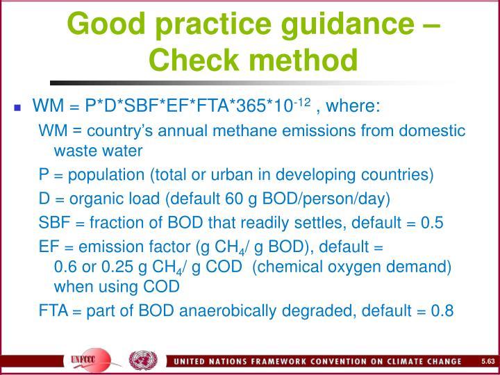 Good practice guidance – Check method