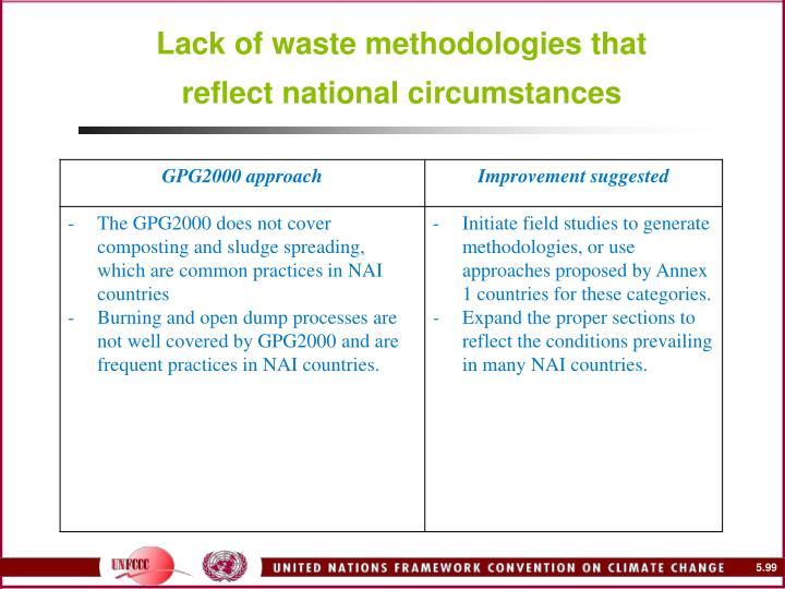 Lack of waste methodologies that