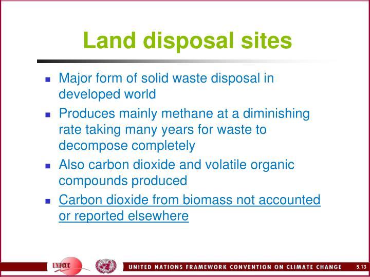 Land disposal sites