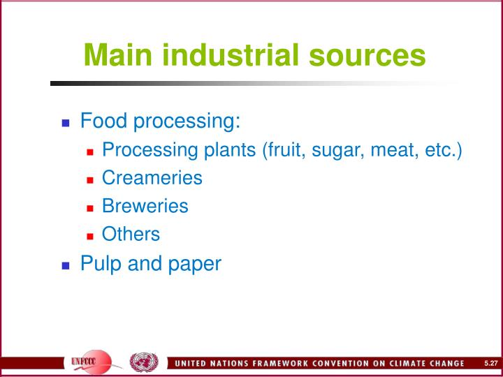 Main industrial sources