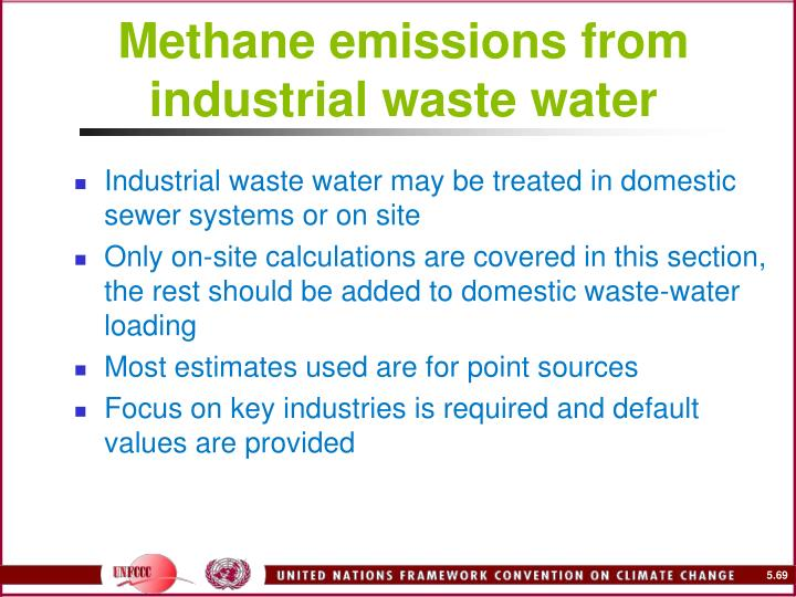 Methane emissions from industrial waste water