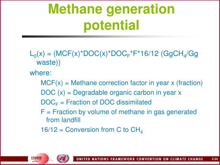 Methane generation potential