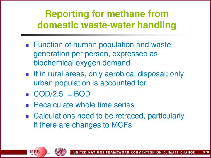 Reporting for methane from domestic waste-water handling